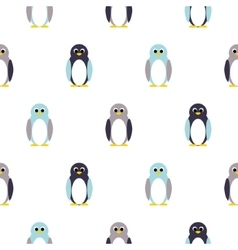 Penguin blue purple on white kid pattern vector
