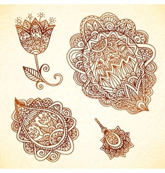 Ornate vintage elements in indian style vector