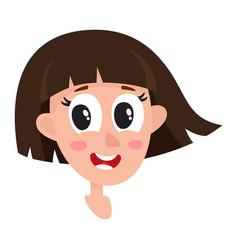 Pretty dark brown hair woman wow facial vector