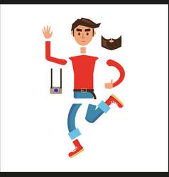 Cartoon hipster man character constructor vector
