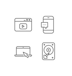 Notebook hard disk drive and browser window vector