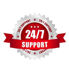 24-7 support button vector image