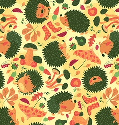 Autumn pattern with hedgehogs vector