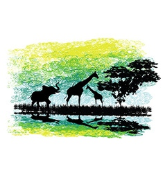 Safari in africa silhouette of wild animals vector
