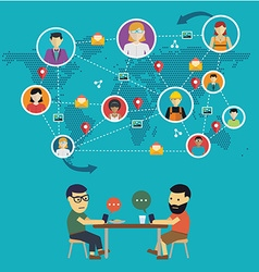 Social media network concept with people with vector