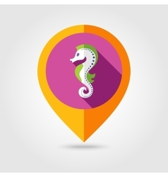 Sea horse flat mapping pin icon with long shadow vector