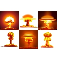 Nuclear explosions set vector