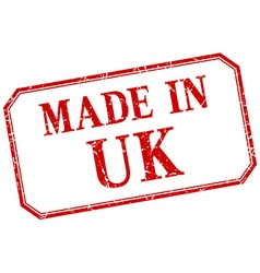 Uk - made in red vintage isolated label vector
