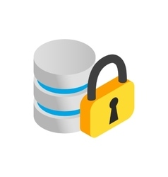 Database with padlock icon isometric 3d style vector image