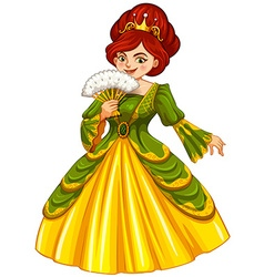 Queen in green and yellow dress vector image