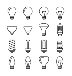 Light bulb outline icons vector
