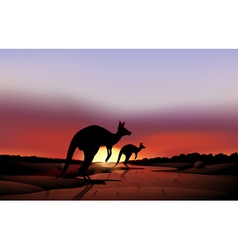A big and a small kangaroo in the desert vector image