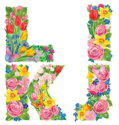 Alphabet of flowers IJKL vector image vector image