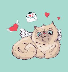 angel cat graphics vector image