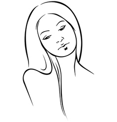 beautiful woman - black outline vector image