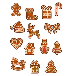 Brown Christmas gingerbreads and cookies vector image