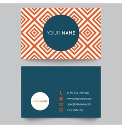 Business card template orange and white pattern vector