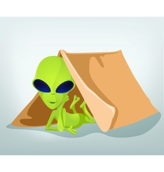 Cartoon alien camp vector