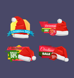 christmas super choice promo labels with santa hat vector image