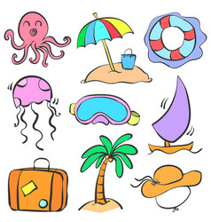 doodle summer holiday cartoon style vector image