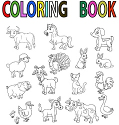 Coloring book with farm animals Royalty Free Vector Image