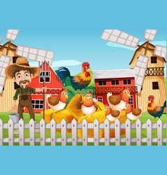 farmer and chickens on the farm vector image vector image
