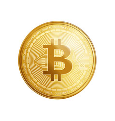 Golden bitcoin coin symbol vector