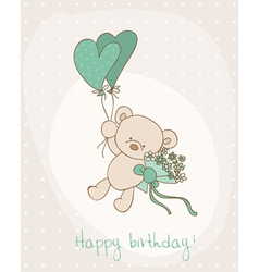 greeting birthday card with cute bear vector image vector image
