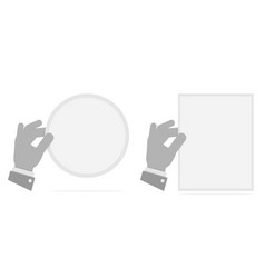 hand holding a leaf black and white vector image vector image