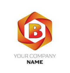 Letter b logo symbol on colorful hexagonal vector