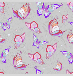 Pattern of pink butterflies on a light gray vector
