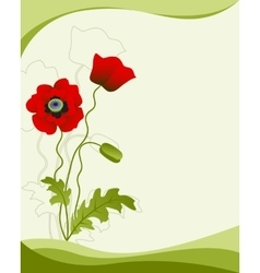 Poppy flower isolated on a green background vector