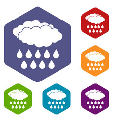 Rain icons set hexagon vector