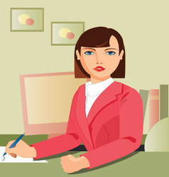 secretary-working vector image vector image