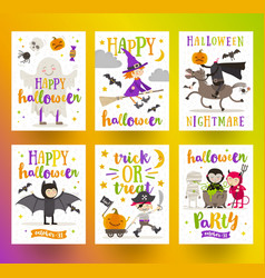 Set of halloween holidays posters or greeting card vector