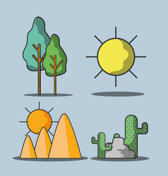 Set trees and mountains with cactus and sun vector