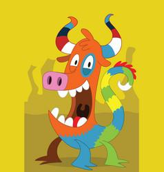Taurus pig-like alien monster with clown dragon vector