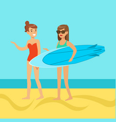 Two young women walking on the beach girl in vector
