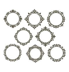 Vintage floral frames set vector