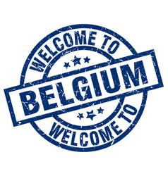 Welcome to belgium blue stamp vector