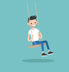 young bearded man sitting on the swing editable vector image vector image