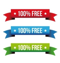 100 percent free ribbon set - red blue green vector