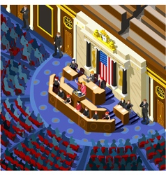 Election infographic congress hall us isometric vector