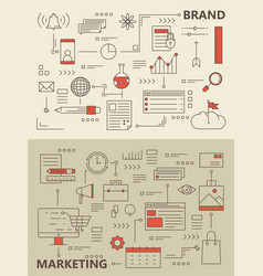 Set of modern thin line marketing process vector
