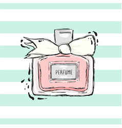 Perfume bottle pink with white bow vector