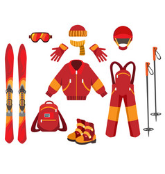 Ski clothes and equipment vector