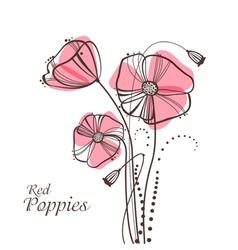 retro poppies vector image