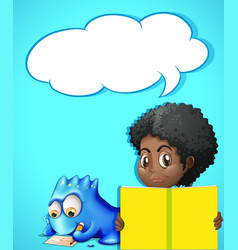 Speech bubble template with girl reading book vector