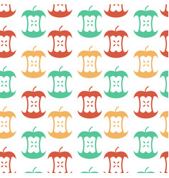 Apple core seamless pattern fruit trash ornament vector