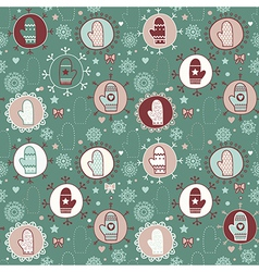 Mitten seamless pattern copy square to the side vector